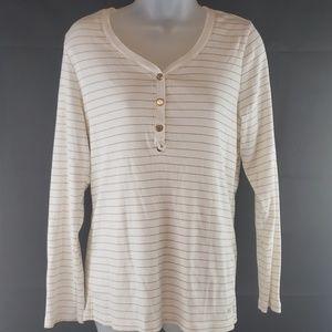 Tommy Hilfiger Henley Gold Striped Shirt